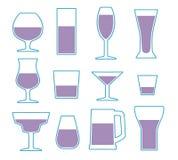 Vektorsymbolssamlingen ställde in med olika enkla typer för dricka exponeringsglas stock illustrationer