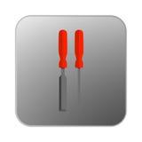 Vektorsymbolsskruvmejsel med det orange handtaget Royaltyfria Foton