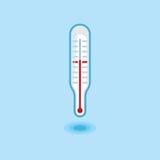 Vektorsymbolstermometer i linjen arbetsstil för att mäta kroppstemperatur på ljus - blå bakgrund Arkivfoto