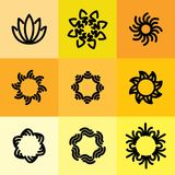 Vektorsymbolsuppsättning av abstrakt begreppramar & logomallar i linjen styl Royaltyfria Bilder