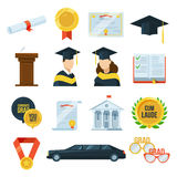 Vektorsymbolsuppsättning av avläggande av examenstudentpartiet Kappa och lock, diplom Illustration i plan stil vektor illustrationer