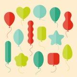 Vektorsymbolsuppsättning av ballonger av olika former i plan stil Arkivbild