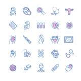Vektorsymbolsuppsättning av befruktning, havandeskap och moderskap Gyne stock illustrationer