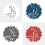 Vektorsymbolsuppsättning av bicepsarmmuskler Klar design för sportetiketten, logo, idrottshall, t-skjorta, ets Royaltyfri Bild