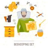 Vektorsymbolsuppsättning av biodlingprodukter Vektor Illustrationer