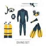 Vektorsymbolsuppsättning av dykningobjekt Vektor Illustrationer