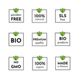 Vektorsymbolsuppsättning av etiketter Organiska skönhetsmedel frigör sls, parabens, sund 100% som är naturlig och Endast bio ingr royaltyfri illustrationer