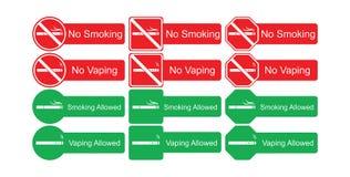 Vektorsymbolsuppsättning av inget - röka och röka som är tillåtet Royaltyfri Bild