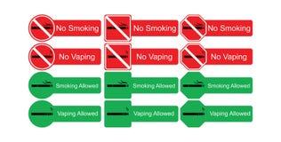 Vektorsymbolsuppsättning av inget - röka och röka som är tillåtet Fotografering för Bildbyråer