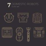 Vektorsymbolsuppsättning av inhemska robotar i linjen konst Royaltyfri Illustrationer