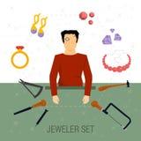Vektorsymbolsuppsättning av juvelerareyrket Stock Illustrationer
