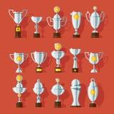 Vektorsymbolsuppsättning av koppar för bronssportutmärkelse Arkivbild