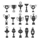 Vektorsymbolsuppsättning av koppar för kontursportutmärkelse Arkivfoton
