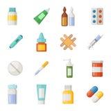 Vektorsymbolsuppsättning av läkarbehandlingar Droger och preventivpillerisolat på vit bakgrund stock illustrationer