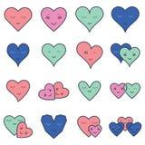 Vektorsymbolsuppsättning av olika hjärtaformer Royaltyfri Foto
