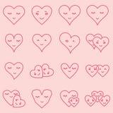 Vektorsymbolsuppsättning av olika hjärtaformer Royaltyfria Foton