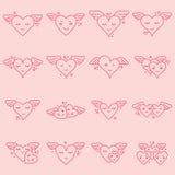 Vektorsymbolsuppsättning av olika hjärtaformer Royaltyfria Bilder