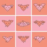 Vektorsymbolsuppsättning av rosa hjärta Arkivbilder