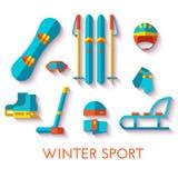 Vektorsymbolsuppsättning av vintersporten Plan design Arkivbild