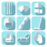 Vektorsymbolsuppsättning av vintersporten Plan design Royaltyfri Bild
