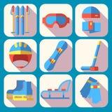 Vektorsymbolsuppsättning av vintersporten Plan design Arkivfoto