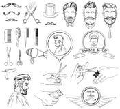Vektorsymbolsuppsättning för Barber Shop och skönhetsalong vektor illustrationer
