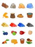 Vektorsymbolsuppsättning för 2d lekar, platformer, den modiga manöverenheten, UI, resurser, malm, mat, trä Fotografering för Bildbyråer