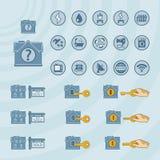 Vektorsymbolsuppsättning för fastighetaffär royaltyfri illustrationer