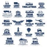 Vektorsymbolsuppsättning för transportmekaniker stock illustrationer