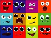 Vektorsymbolsuppsättning - tecknad filmframsidan, lyckligt, förskräckt, att skrika som är lyckligt, leende, grinar och att skratt Arkivbild