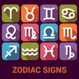 Vektorsymbolsuppsättningen av zodiak undertecknar in plan stil Arkivfoton