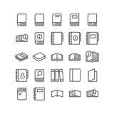 Vektorsymbolsuppsättningen bokar för att läsa på vit bakgrund Fotografering för Bildbyråer