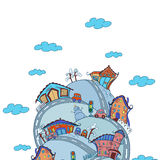 Vektorszene mit Karikaturhäusern Lizenzfreie Stockfotografie