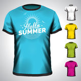 Vektort-skjorta uppsättning med illustrationen för sommarferie Fotografering för Bildbyråer