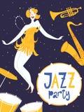 Vektortanzjazz-Parteiplakat Mit netter Tänzerin und Musikinstrumenten Stockfoto