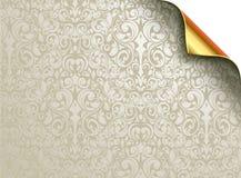 Vektortapetdesign med det vikta guld- hörnet vektor illustrationer