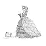 Vektortappning skissar illustrationen som imiterar gravyr Århundrade för viktoriansk epok för fin och förnäm dam 19th Damen i ric Royaltyfri Fotografi
