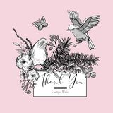 Vektortappning st?llde in av blom- v?rh?lsningkort, med f?glar, granfilialer, bomull, blommor och fj?rilar stock illustrationer