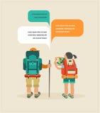Vektortappningaffisch med par av fotvandrare stock illustrationer
