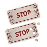 Vektortappningbiljetter - stopp Arkivbilder