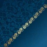 Vektortappningblue och guld royaltyfri illustrationer