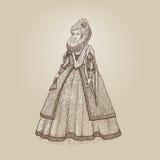 Vektortappningillustration Århundrade för elisabetansk epok för fin och förnäm dam 16th Medeltida dam i en rik klänning med den s Royaltyfri Fotografi