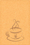 Vektortasse kaffee auf einer Hintergrundbeschaffenheit Stockfoto