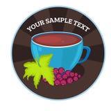 Vektortassen tee mit Traube Teekartenschablone für Restaurant, Café, Bar Auch im corel abgehobenen Betrag stockfoto