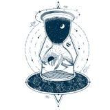 Vektortatuering med ett timglas som inneslutar himlen och jorden mot bakgrunden av ett oändligt universum stock illustrationer