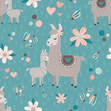 VektorTeal Mama Llama Seamless Pattern bakgrund royaltyfri bild