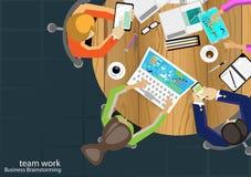 Vektorteam-Arbeitsgeschäftsmann Brainstorming Analysis des Vermarktungsplanes Stockbild