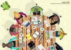 Vektorteam-Arbeitsgeschäftsmann Brainstorming Analysis des Vermarktungsplanes Lizenzfreies Stockfoto