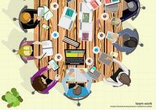 Vektorteam-Arbeitsgeschäftsmann Brainstorming Analysis des Vermarktungsplanes Stockfotografie