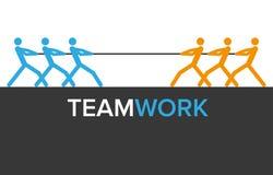 Vektorteamwork-Grafiken mit zwei Teams Stockfotos